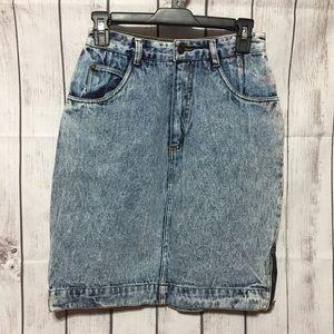 Jordache Jean Skirt Acid Wash Vintage 9/10 Zip